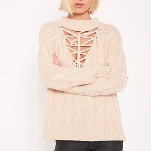 🌿NWT Missguided lace up Cable Knit Sweater